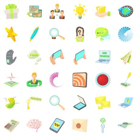 Commentator icons set, cartoon style