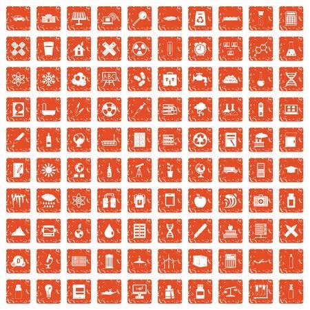 100 chemistry icons set grunge orange Illustration