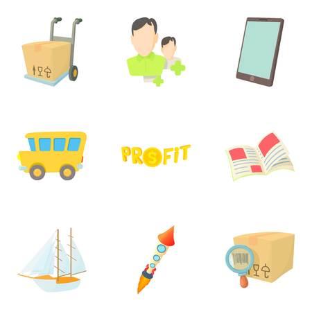 Conjunto de iconos de reenvío, estilo de dibujos animados