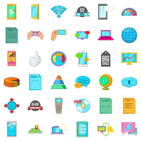 Speaker system icons set, cartoon style 일러스트