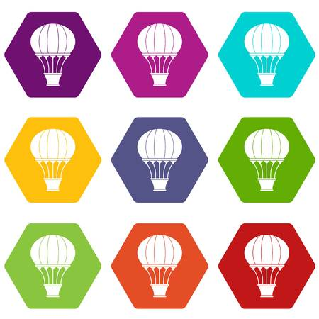 Hot air balloon with basket icon set color hexahedron Illustration