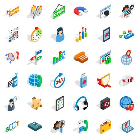 Power grid icons set. Isometric set of 36 power grid vector icons for web isolated on white background Illustration