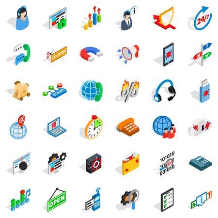 Smart net icons set, isometric style