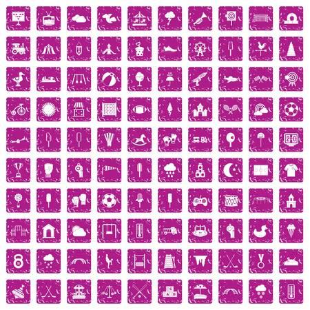 100 childrens playground icons set grunge pink