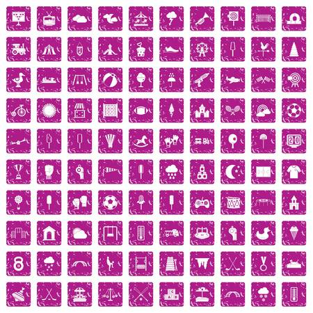 100 childrens playground icons set grunge pink