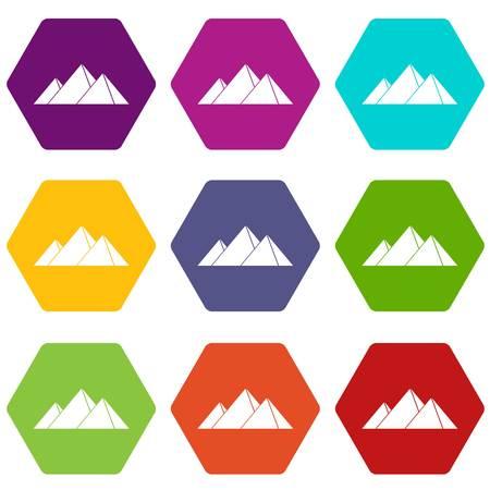 Pyramids in Giza icon set color hexahedron Illustration