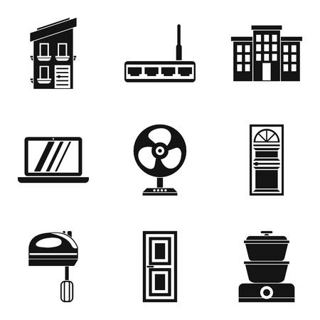 Smart house icons set, simple style