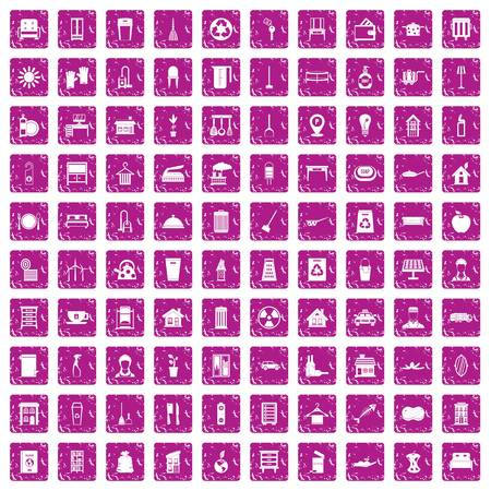 100 cleaning icons set grunge pink