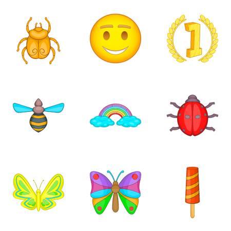 Bee icons set, cartoon style