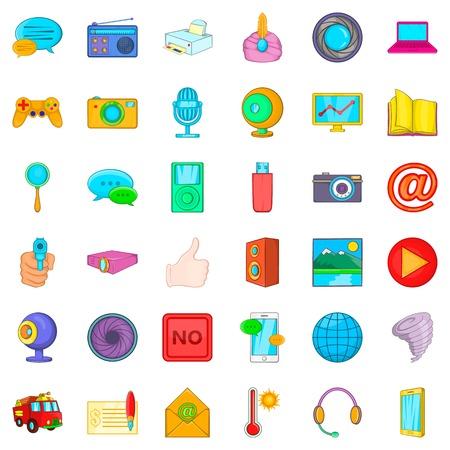 Information message icons set, cartoon style Illustration