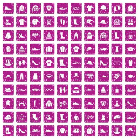 100 clothing and accessories icons set grunge pink