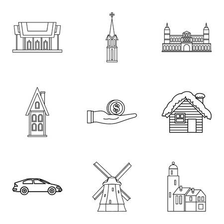 Loving relationship icons set, outline style