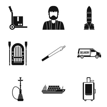 Smuggling icons set, simple style Vectores