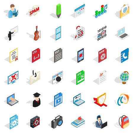 Compendium icons set. Isometric set of 36 compendium vector icons for web isolated on white background Ilustração
