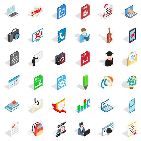 Quick guide icons set, isometric style
