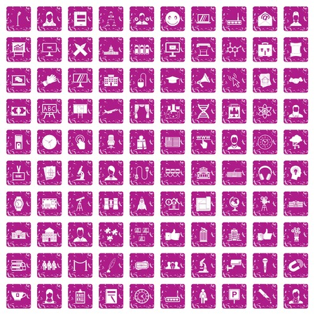 100 conference icons set in grunge style pink color isolated on white background vector illustration