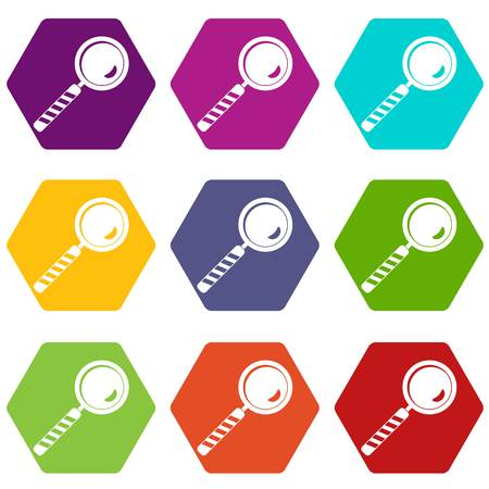 Magnifying glass icon set color hexahedron