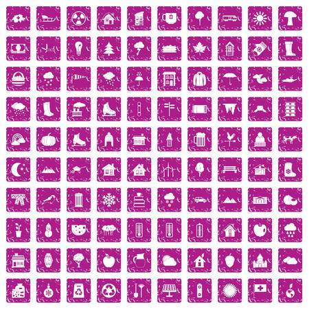100 country house icons set grunge pink Vettoriali