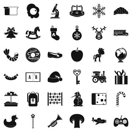 Preparatory class icons set, simple style Illustration