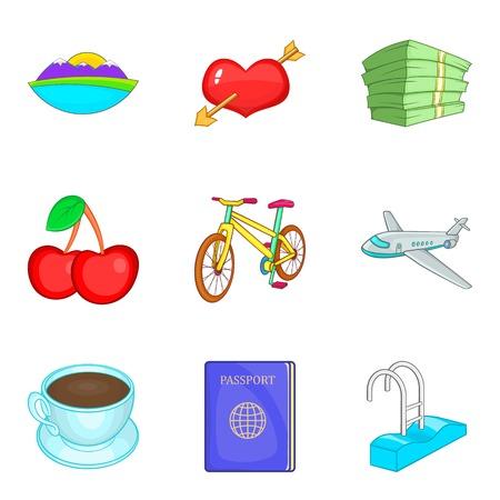 Romantic food icons set, cartoon style