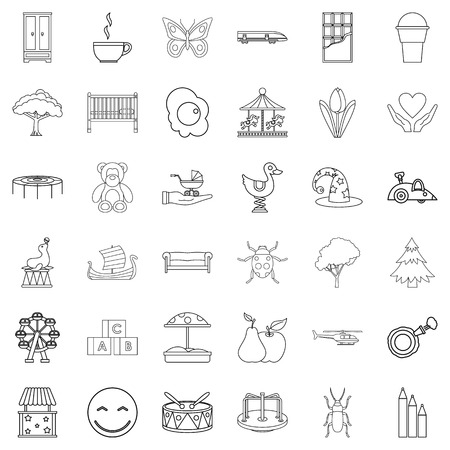 Nursemaid icons set, outline style Illustration