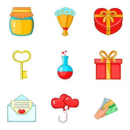 Beloved icons set, cartoon style Illustration