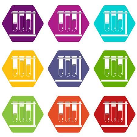 Three beakers icon set color hexahedron Ilustração