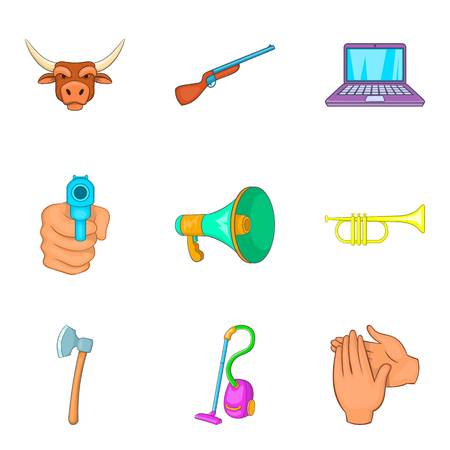 Audio noise icons set, cartoon style