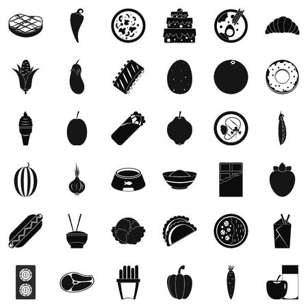 Food value icons set, simple style