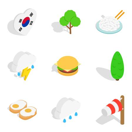 Rest in South Korea icons set, isometric style