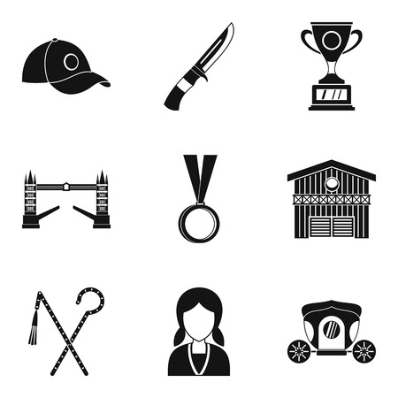 Equestrian icons set. Simple set of 9 equestrian vector icons for web isolated on white background
