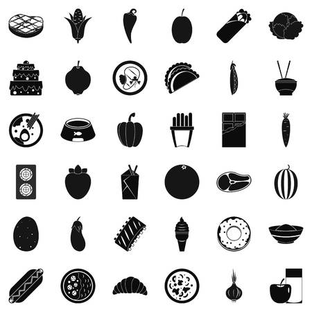Power value icons set, simple style Illustration