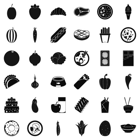Supply food icons set, simple style