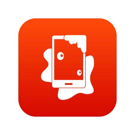 Wet phone icon digital red