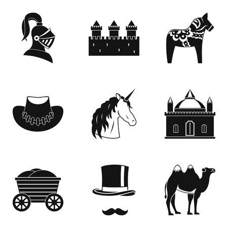 Horsemanship icons set, simple style Ilustração