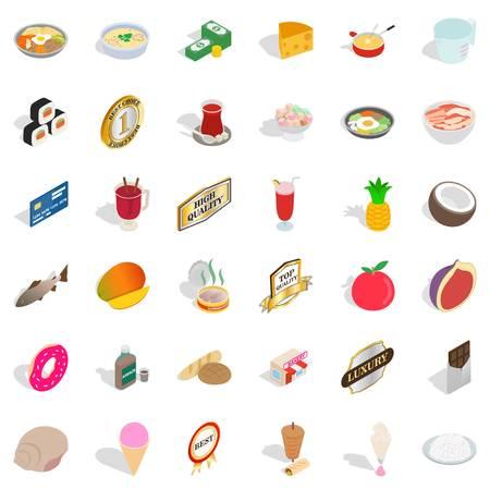 Supply block icons set, isometric style