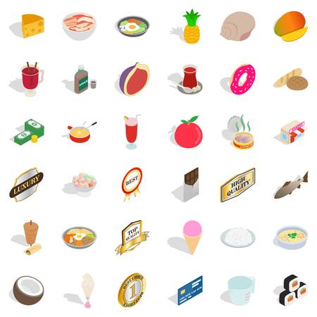 Diet nourishment icons set. Isometric set of 36 diet nourishment vector icons for web isolated on white background