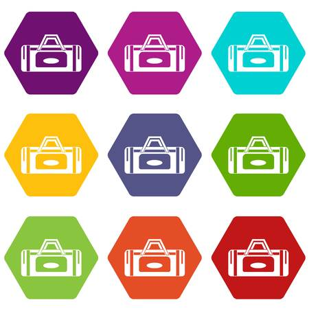 Road bag icon set many color hexahedron isolated on white vector illustration Illustration