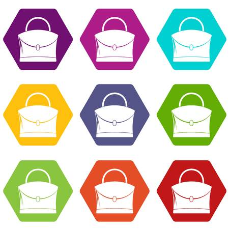 Little woman bag icon set many color hexahedron isolated on white vector illustration