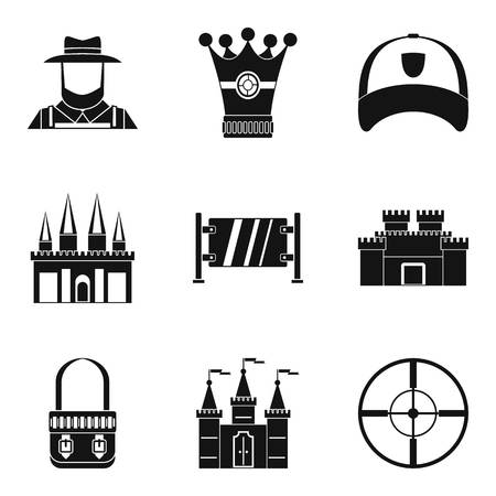 Jump icons set like cap, castle and target. Simple set of 9 jump vector icons for web isolated on white background Illustration