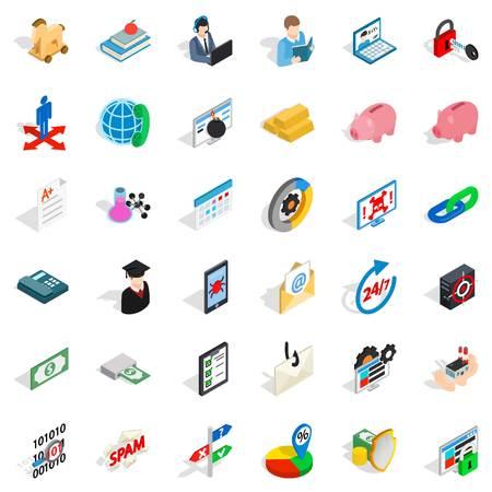 Mandatory icons set, isometric style