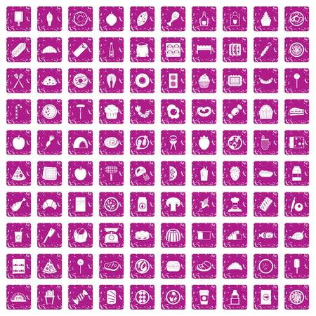 100 delicious dishes icons set in grunge style pink color isolated on white background vector illustration