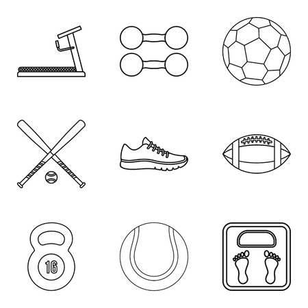 Sporting icons set, outline style