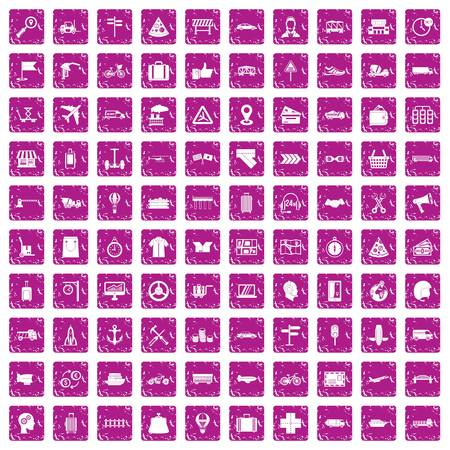 100 delivery icons set in grunge style pink color isolated on white background vector illustration