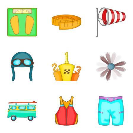 Physical lifestyle icons set, cartoon style Illusztráció