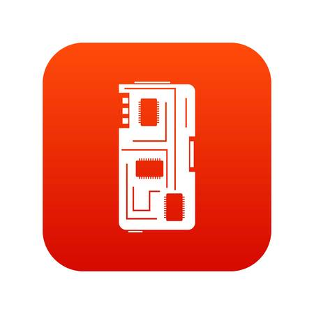 Phone chip icon digital red