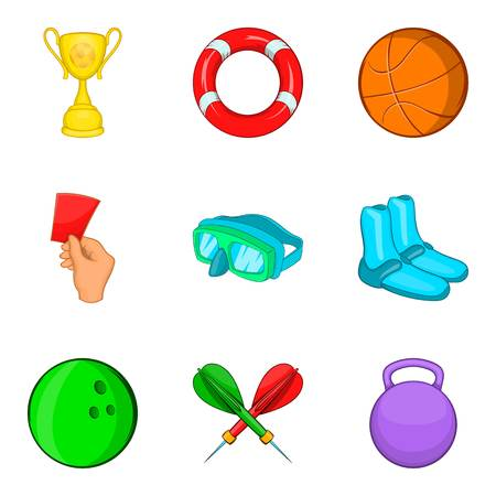 Sport competitions icons set, cartoon style
