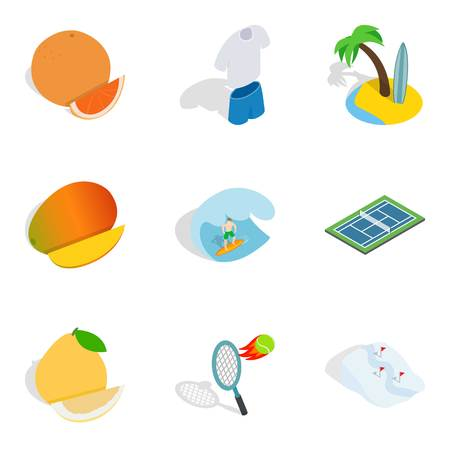 Fitness body icons set. Isometric set of 9 fitness body vector icons for web isolated on white background