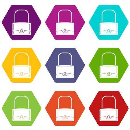 Little bag icon set many color hexahedron isolated on white vector illustration