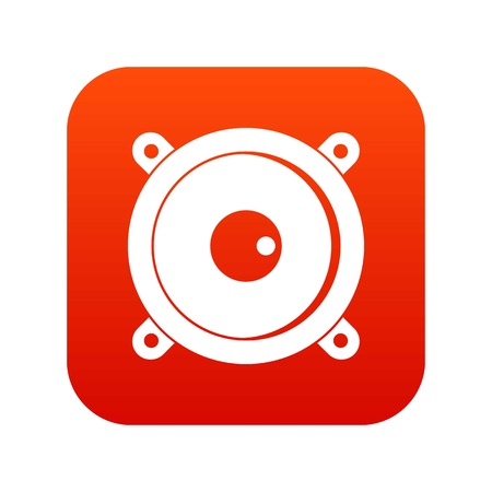 Audio speaker icon digital red for any design isolated on white vector illustration
